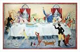 animals banquet by Judy Willoughby, Giclee Print, print of a watercolour
