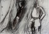 boys talking by Judy Willoughby, Drawing, Charcoal on Paper