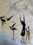 flight by Judy Willoughby, Drawing, ink and pencil