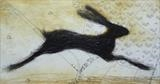 leaping hare by Judy Willoughby, Artist Print