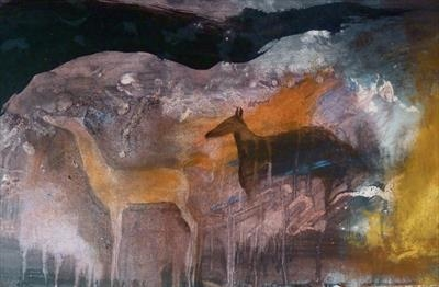 2 Deer in a cave by Judy Willoughby, Giclee Print